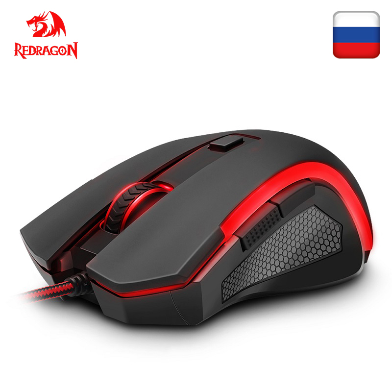 Redragon NOTHOSAUR M606 USB Wired Gaming Computer Mouse 3200 DPI 6 Buttons 7 Colors Backlit REFLON Pads Ergonomic For PC Gamer