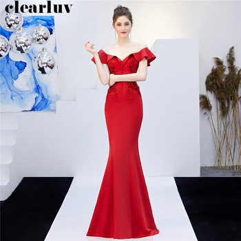 Boat Neck Evening Dresses Plus Size Robe De Soiree DX265-1 Long Beading Mermaid Women Party Dress 2019 Red Backless Formal Gowns