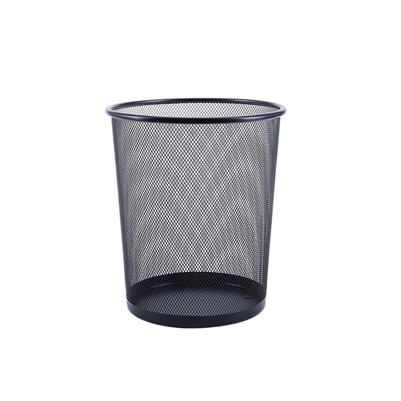 Escritório pode ferro malha lixeira lixeira cesta de lixo de papel preto 26.5*23.5*18.5cm|Cestos de lixo| |  - title=