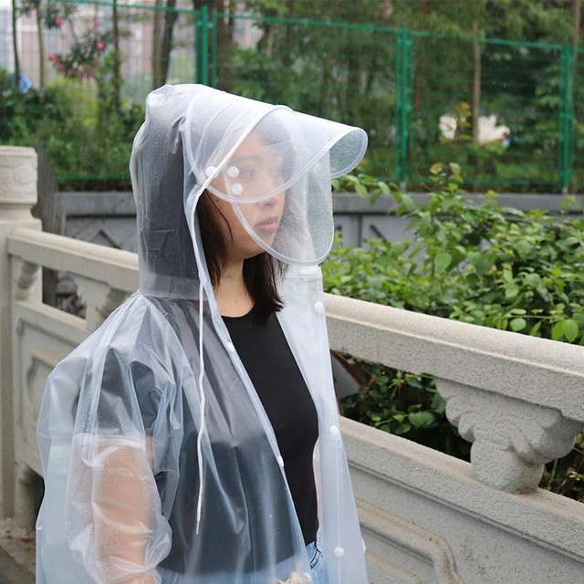 Non-disposable EVA  Raincoat  W Face Mask Shields Thickened Waterproof Anti Saliva Dust Proof Safety Coat Camping Rainwear Suit 4