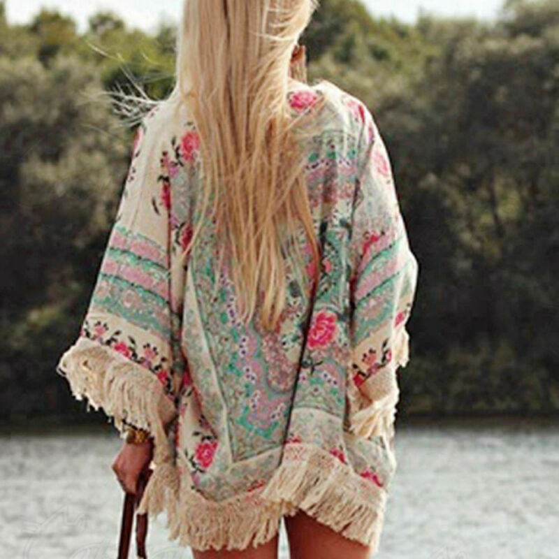 Women Fringed Tassel Shawl Cape Beach Ladies Cover Up Loose Blouse Shirt Floral