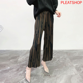 MIYAKE Pleated Casual Pants Women Spring and Summer New Loose Pleated Wide Leg Pant Pleated Trousers Straight Pleats Pantalon фото
