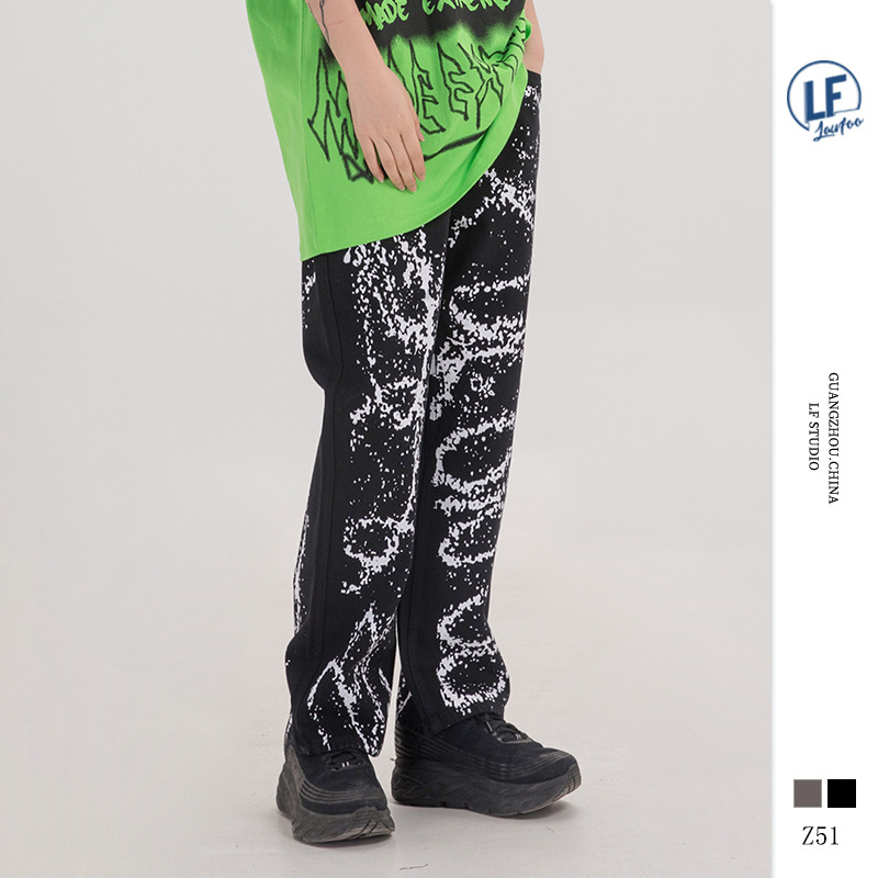Lawfoo 2019 Autumn And Winter New Products Country Popular Brand Origional Men'S Wear Graffiti Inkjet Printed Casual Pants Men A