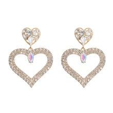 Earrings for Women Exaggerated Fashion Crystal Double Heart Earrings Contracted Joker Long Drop Earrings Jewelry Trendy artificial crystal floral hollowed heart drop earrings