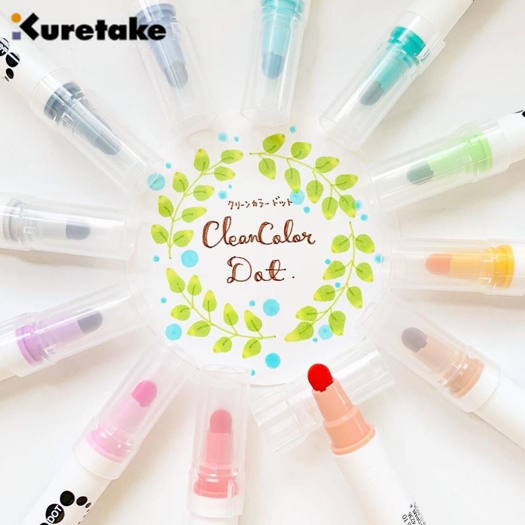 12pcs/set Japan Zig KURETAKE Double Head Marker Watercolor Pen CLEAN COLOR DOT Student Painted Art Brush Round Stamp TC-6100