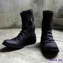 Fashion Men Shoes Top Quality Men's Zipper Flop Motorcycle PU Leather Boots Round Toe Casual Zapatos De Hombre LP387