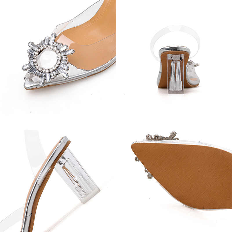 2020 Summer Transparent High Heels Sandals Women Sexy Slip-on Pointed Toe Pumps Shoes Fashion Comfort Silver Women Party Sandals