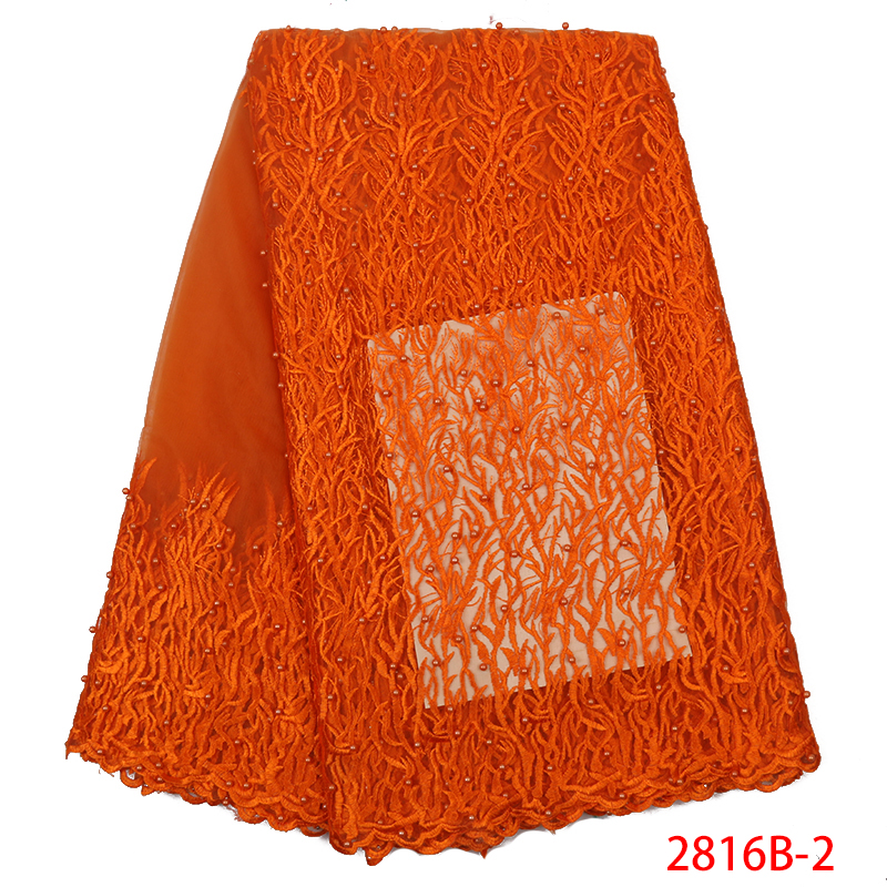 Latest Lace Fabric African French Tulle Lace Hot Sale Embroidered Laces Fabrics With Beads For Nigerian Formal Dress KS2816B-2