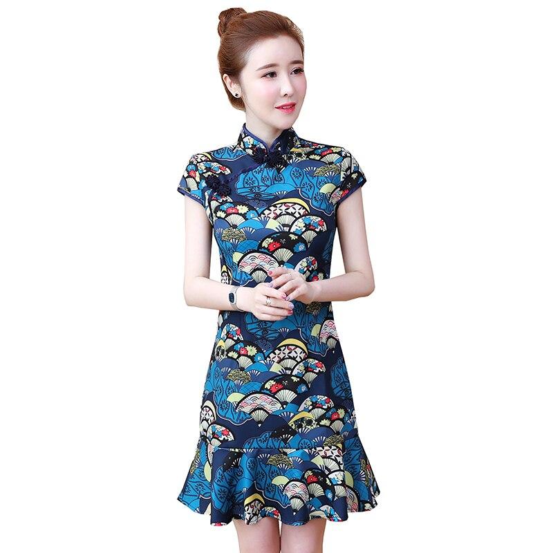 2020 Women Traditional Chinese Dress Cheongsam Qipao Dress Short Sleeve Printing Tang Costume Lady Qipao Evening Party Dress
