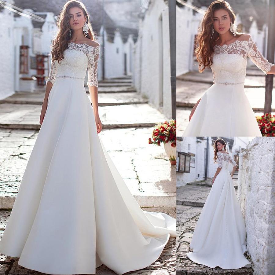 Fascinating Satin Off-the-shoulder Neckline 2 In 1 Wedding Dresses With Beadings Removable Jakcet Bridal Dress