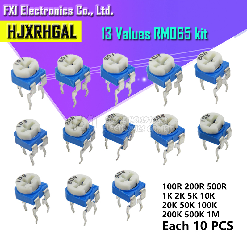 130pcs=13 kinds RM-065 Trimming Potentiometer 100ohm-<font><b>1Mohm</b></font> RM065 Variable <font><b>Resistors</b></font> component diy kit new image