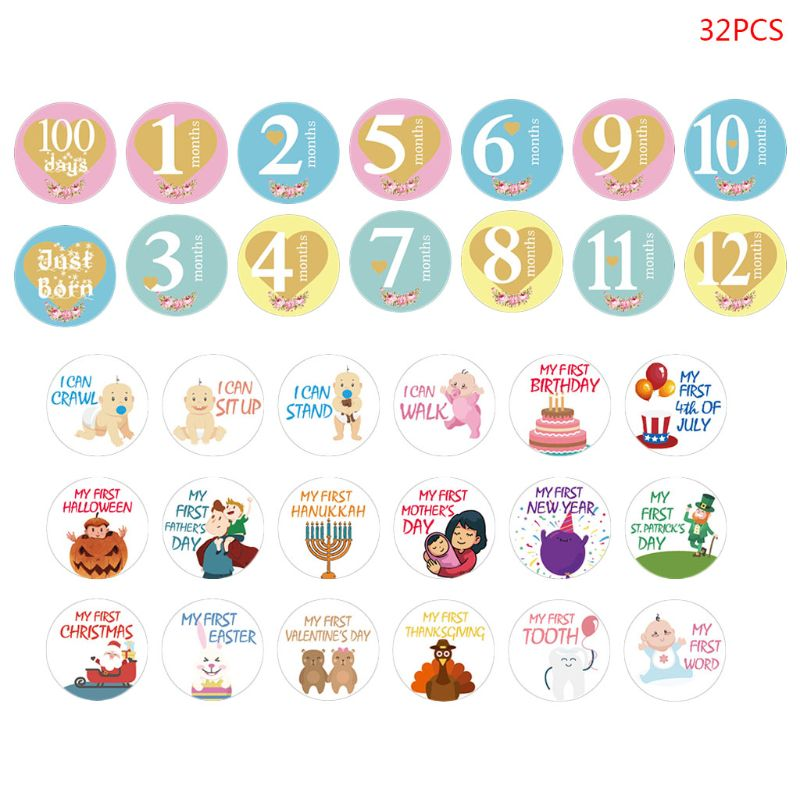 32 PCs Baby Monthly Photograph Sticker Cute Cartoon Infant Milestone Sticker 1-12 Month Scrapbook Photo Album Photo Prop