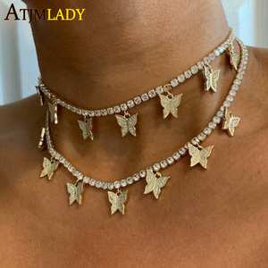 Image 4 - 2020 pink pinky drip 5mm cz butterfly charm tennis chain 32+10cm choker necklaces iced out bling hip hop cool rock women jewelry
