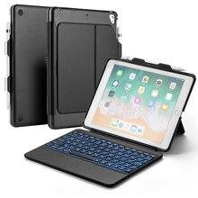 цена на 7 Color Backlit Keyboard case for iPad Air 1/ iPad Air 2/2017 2018 New iPad 9.7 iPad Pro 9.7 Bluetooth Tablet Keyboard TPU Cover