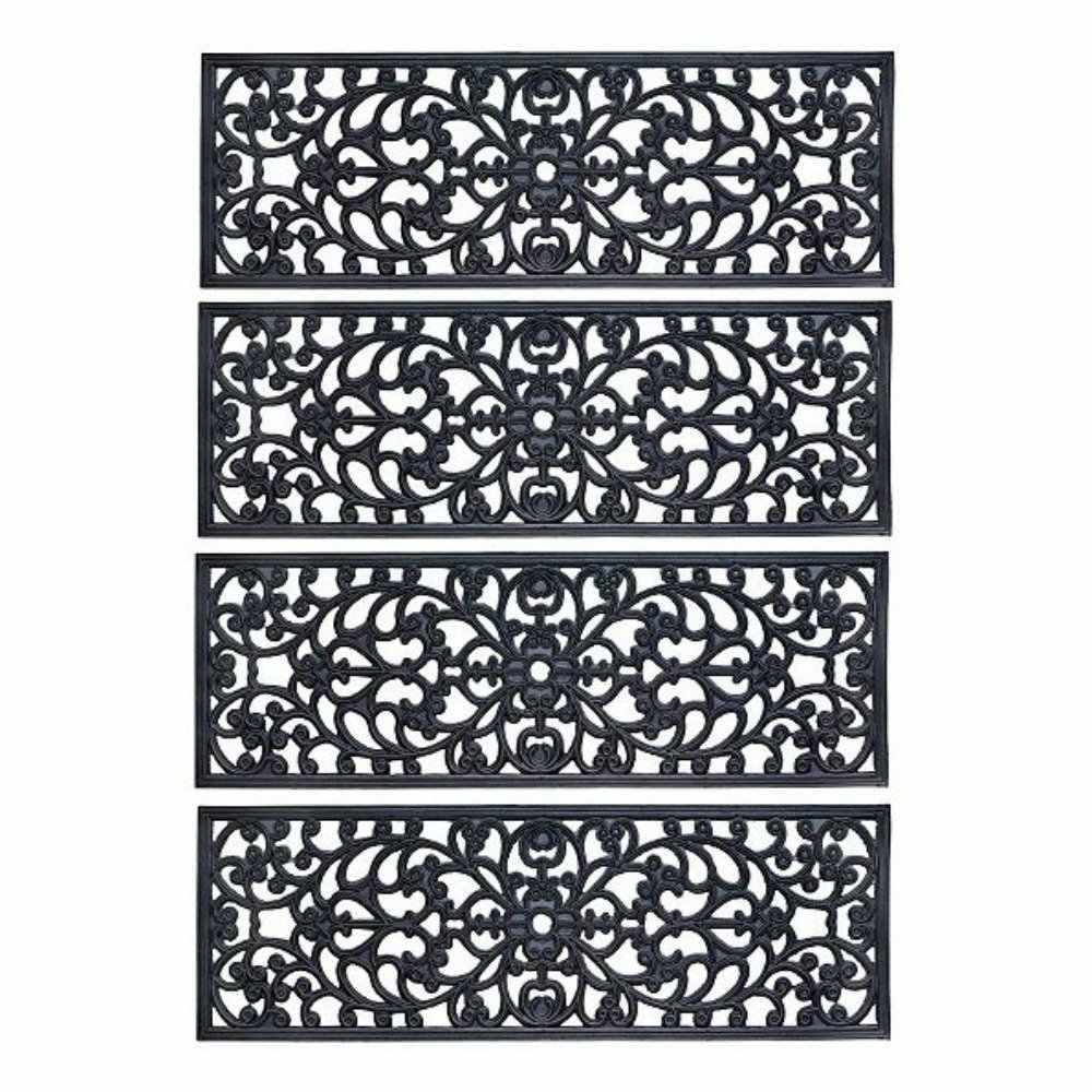 Rubber Stair Treads Outdoor Black Scrollwork Rubber Non Slip Stair   Outdoor Tread For Steps   Pressure Treated   Wood   Deck Stairs   Non Slip   Granite