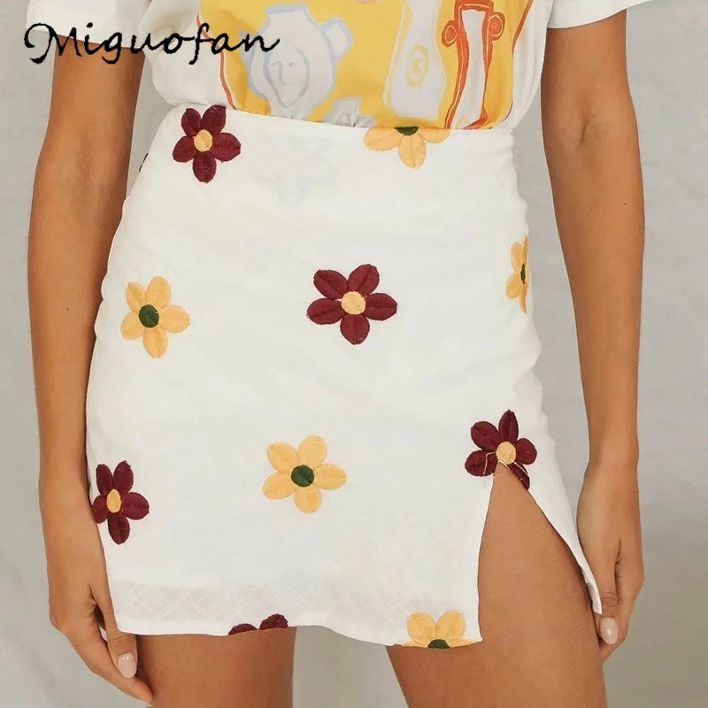 Miguofan 2020 Summer Skirts Floral Embroidery Sexy Mini Skirts High Split Vintage Beach Bodycon Skirts For Woman Girls Buttoms