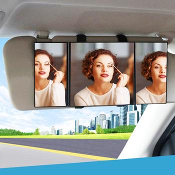 Składany samochód lusterko kosmetyczne duży ekran 30*14cm lustro do makijażu 3 sekcja składane wnętrze auta szkło lustro osłona przeciwsłoneczna tanie i dobre opinie EAFC CN (pochodzenie) ABS glass Lusterka wewnętrzne Car Visor Mirror Adjustable Car Makeup Mirror 2020 black 15 5*14cm