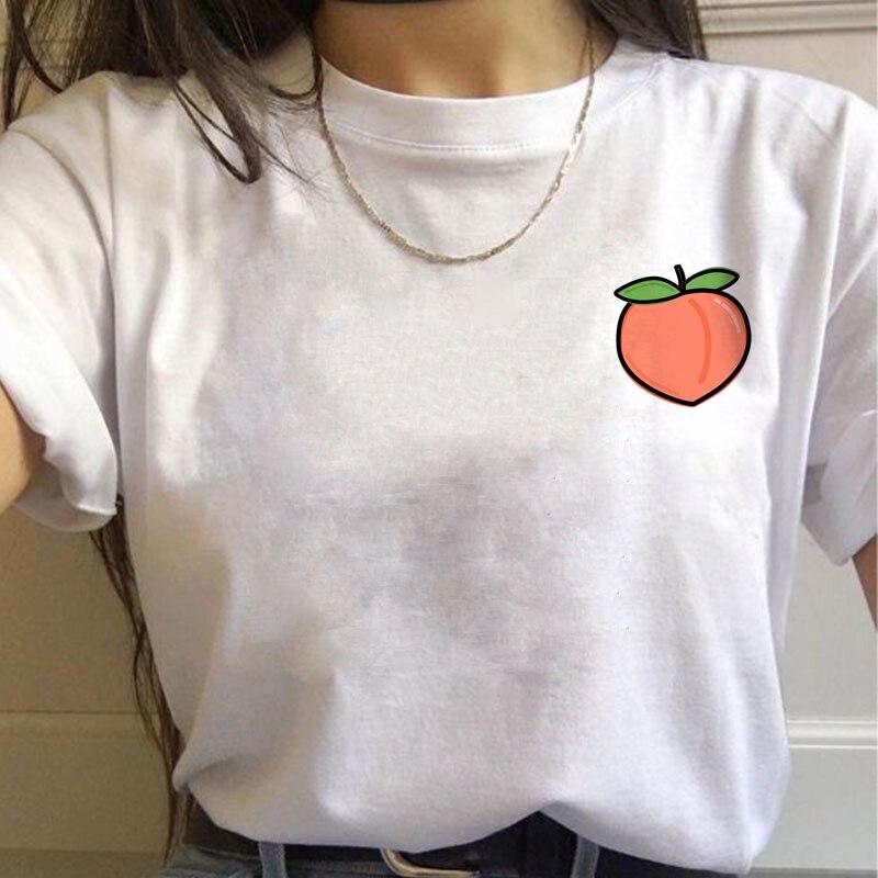 Peach Harajuku Small Fresh   T     Shirts   Women Ullzang Korean Style   T  -  shirts   90s Peachy Graphic Tshirts Fashion Funny Top Tees Female