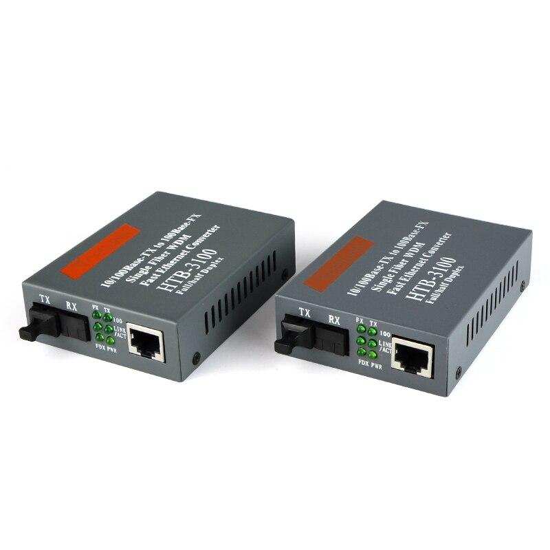 2 pièces HTB-3100A/B 25KM SC netLINK 10/100Mbps Simple unimodale-fibre WDM Convertisseur De Média Fiber Optique UN 1310nm-TX, B 1550nm-TX Prise AMÉRICAINE