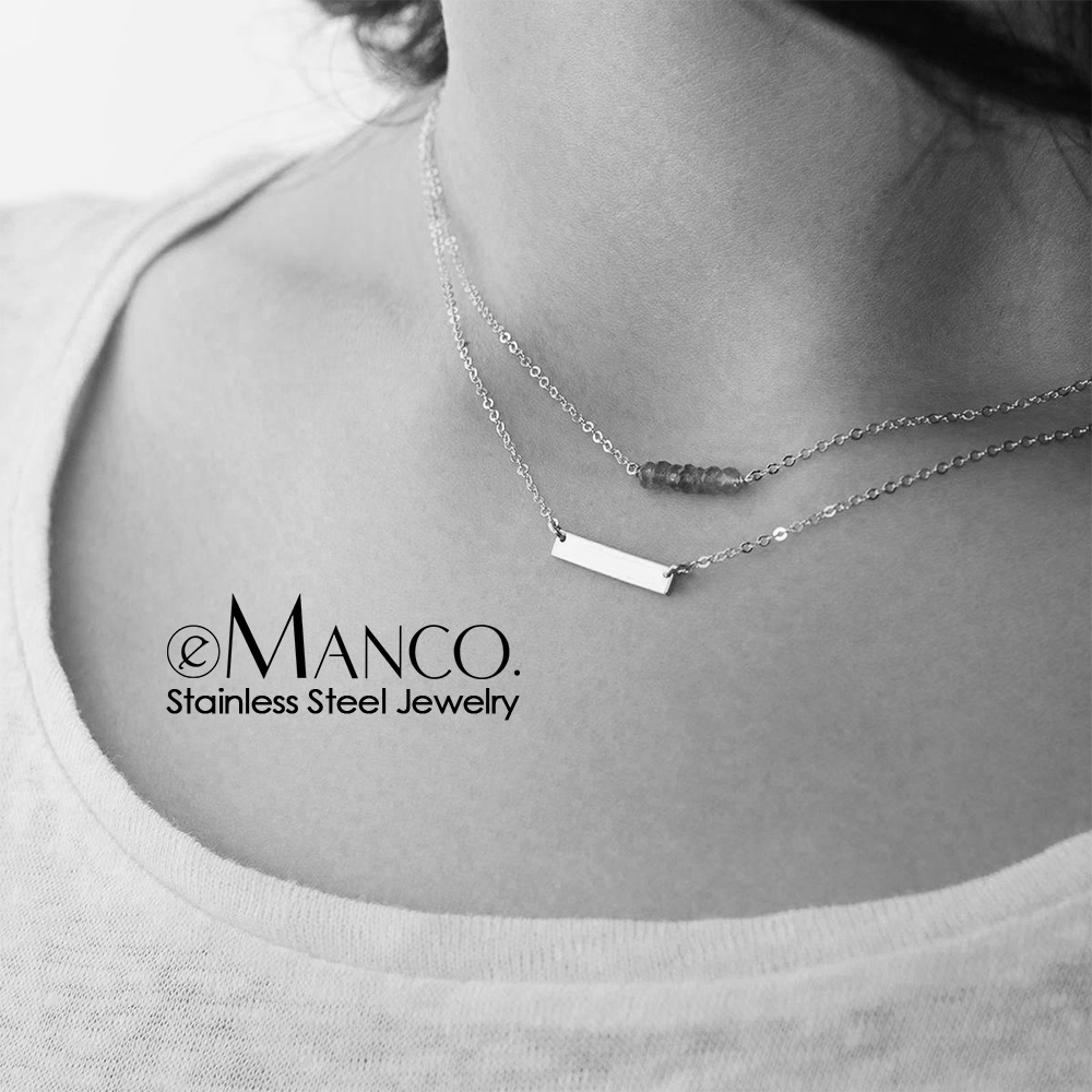 EManco 316L Stainless Steel Necklace Women Crystal Stone Charm Pendant Necklace For Women Layered Chokers Necklace