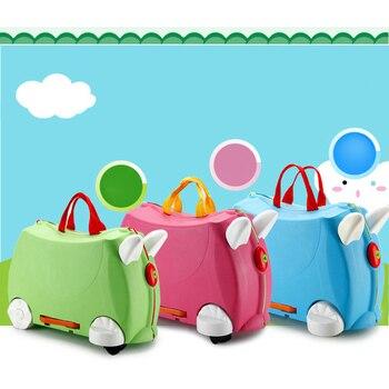 Fashion Travel Luggage Stroller Multicolor Animal Modeling Suitcases Children Hard Case Suitcase White Green Child Storage Box