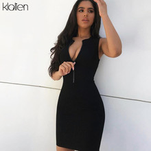 KLALIEN fashion sexy black zipper bodycon dress woman summer high street stretch Slim Soft Ribbed Knitted casual mini dress