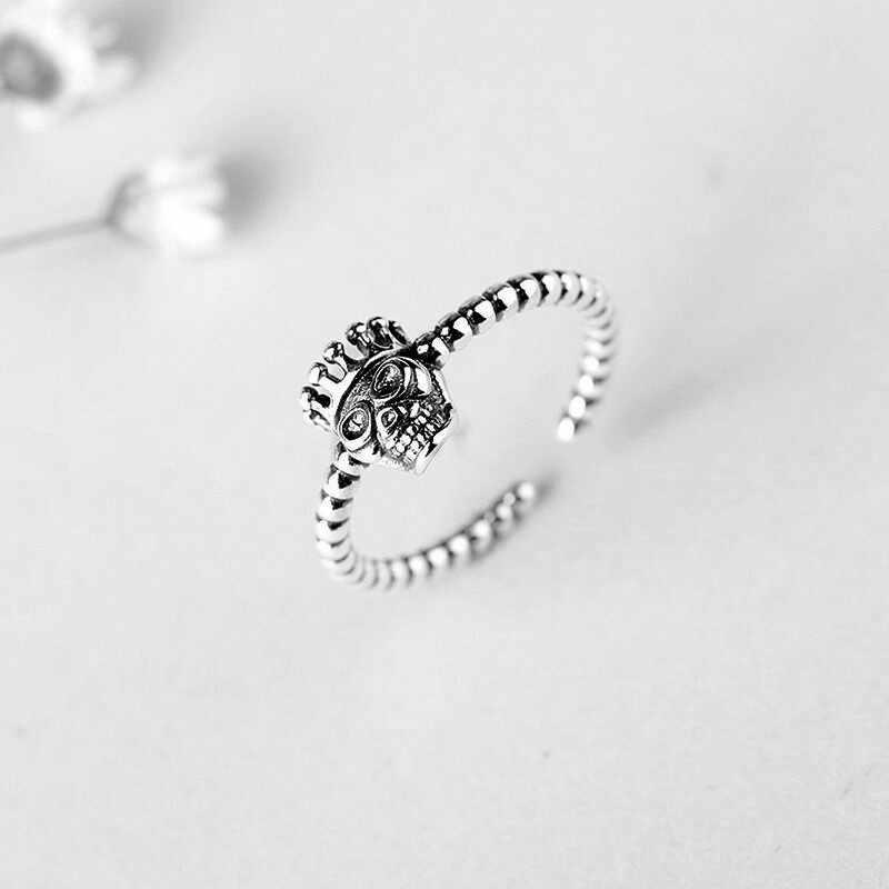 2019 новый стиль 925 пробы серебряные Ретро Кольца с черепом открытые, кольца на палец для женщин Подарки Ювелирные Изделия