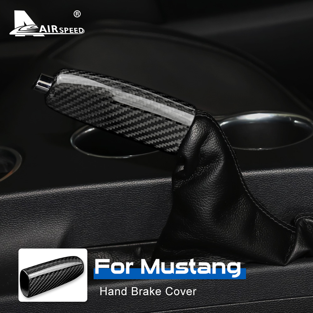 AIRSPEED Carbon Fiber for Ford Mustang GT 2015 2016 2017 2018 2019 2020 Accessories Car Handbrake Cover Hand brake Interior Trim