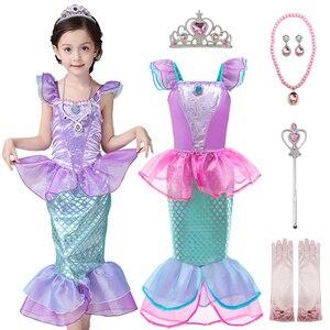 kids dresses for girls //the little mermaid princess ariel //mermaid costume for girls //3 set princess ariel kid little mermaid(China)