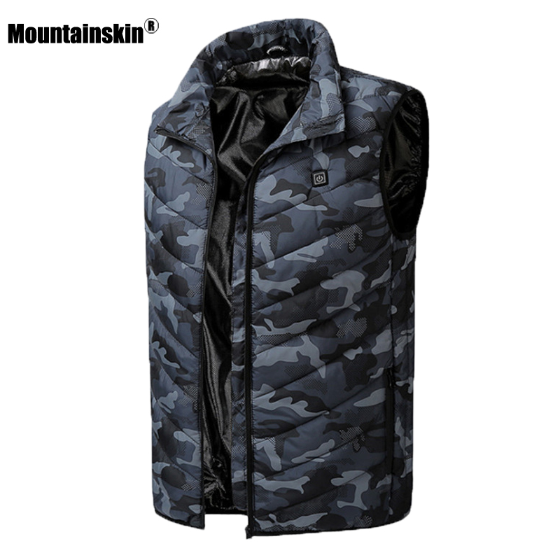 Mountainskin Mens Winter Warm USB Heating Vest Casual Sleeveless Coat Men Carbon Fiber Electric Jacket Male Brand Clothing SA869