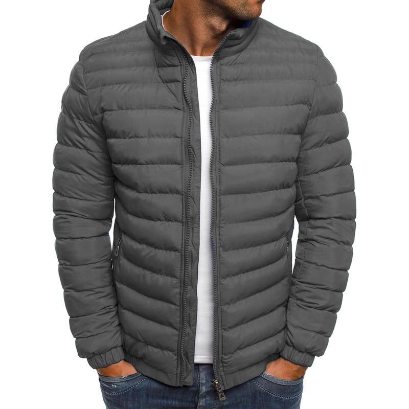 ZOGAA Mens Parka Jacket Winter Coat Men Cotton Puffer Jacket Solid Plus Size Overcoat Zipper Streetwear Casual Jacket Men