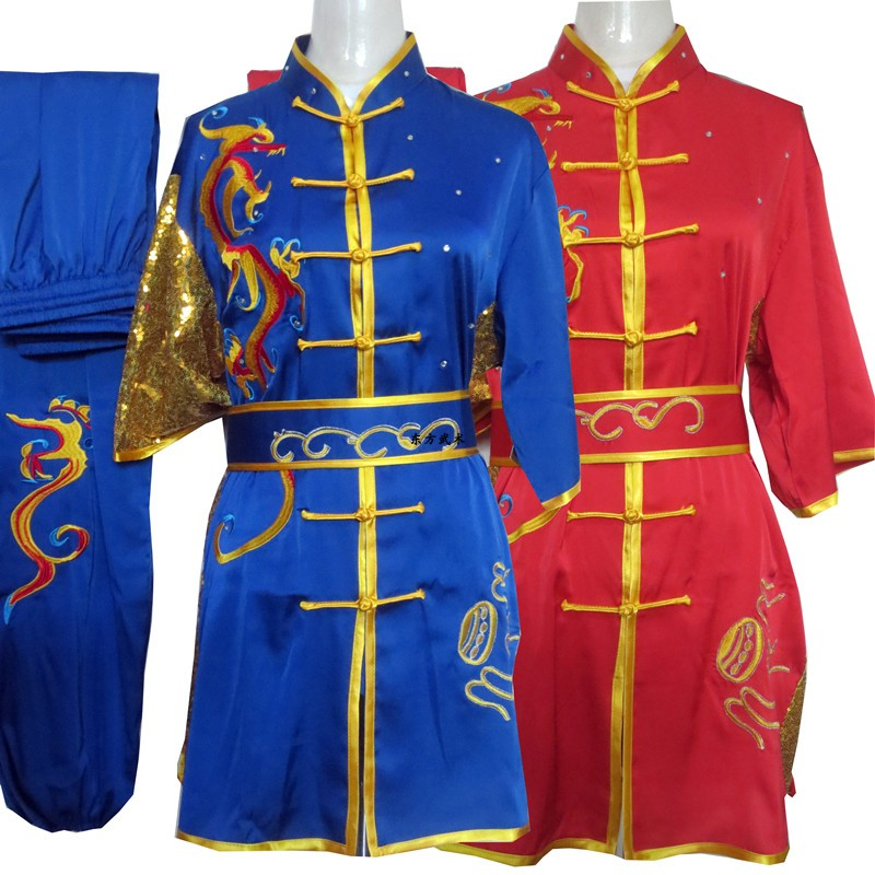 2019 Martial Arts Wushu Clothing Tai Chi Wushu Shaolin Kung Fu Uniform Wing Chun Uniform Taiji Paillette Embroidery Dragon Set