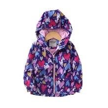 Fashion Waterproof Love Print Child Coat Warm Fleece Baby Gi