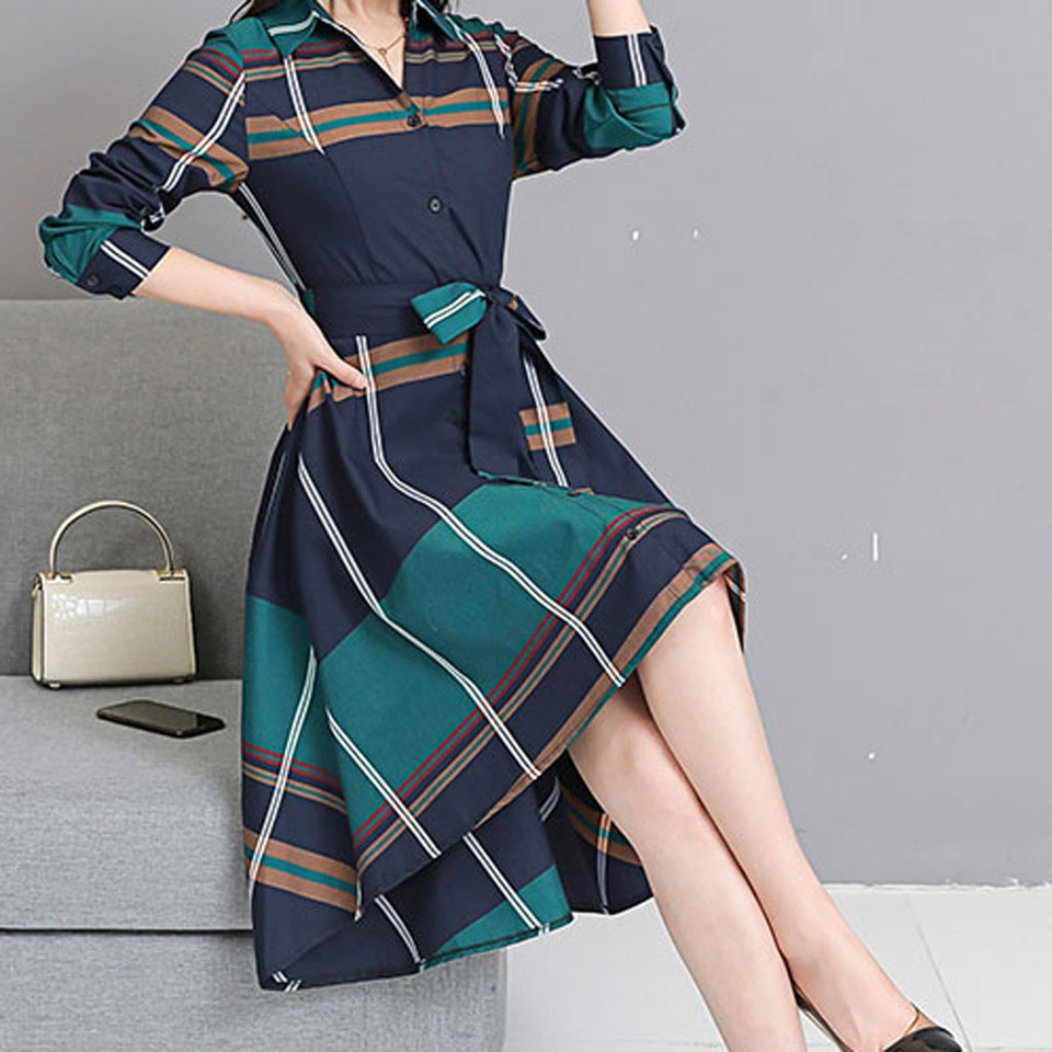 US $14.14 14% OFFFrauen Grid Streifen Kleid Elegante Dame Büro Langarm  Kleid Frauen Tunika Bandage Midi Kleid Plus Größe Herbst Winter #BDresses  -