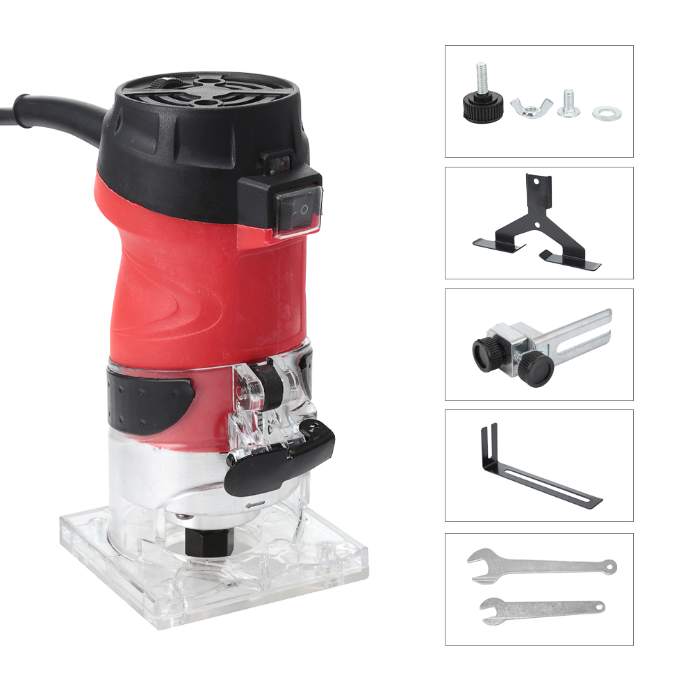 6 Speed 5000-35000rpm 2200W Woodworking Electric Trimmer Wood Router Milling Engraving Slotting Trimming Hand Carving Machine