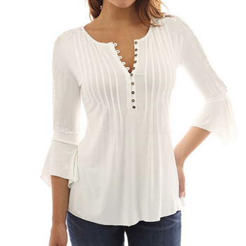 Women Blouse Shirts Elegant Ruffles Chiffon Summer Tops Tunic Plus Size Flare Sleeve Solid Casual Loose Shirt blusas feminina