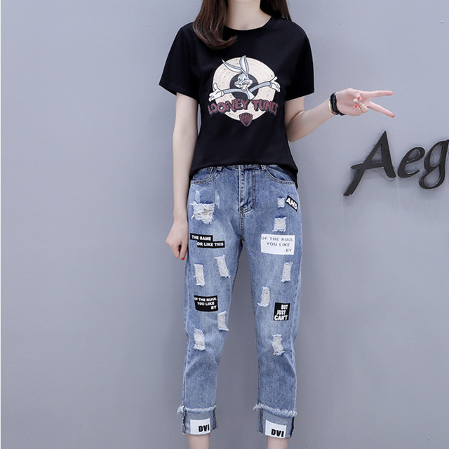 2021 Summer 2 Pieces Jeans Suits Women  Printing Hot Drilling T-Shirts + Calf-Length Denim Ripped Pants Sets Tracksuit Set 4