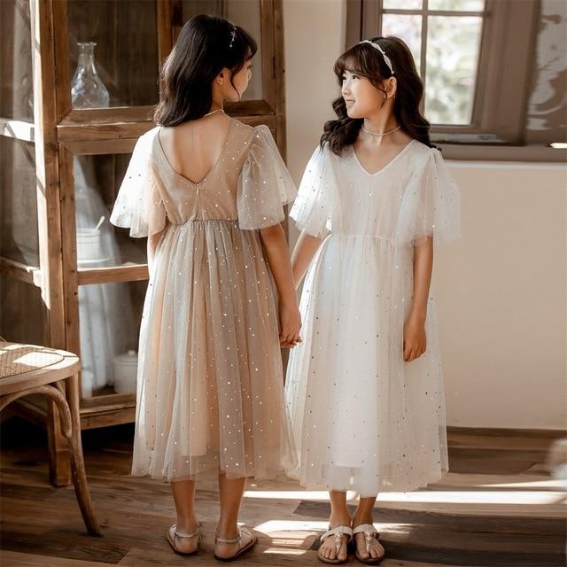 새로운 2020 여름 메쉬 아이 소녀 드레스 아이들을위한 레이스 드레스 아기 공주 드레스 별 어린이 귀여운 드레스 웨딩, #8011