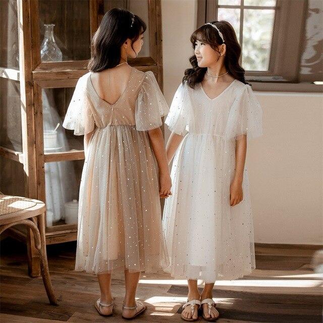 Yeni 2020 yaz örgü çocuk kız elbise çocuk dantel elbise kızlar için bebek prenses elbise yıldız çocuk sevimli elbise düğün, #8011