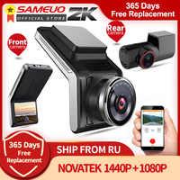 Sameuo-Cámara de salpicadero con WIFI para coche, lente de cámara frontal y trasera de 1080p, 2k, dvr, Visión Nocturna Automática, 24H