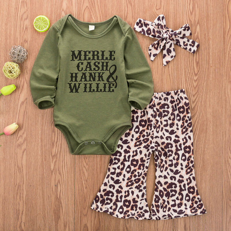 Kids Newborn Baby Girl Romper Tops + Long Pants + HeadBand Outfits Clothes Set 3PCS