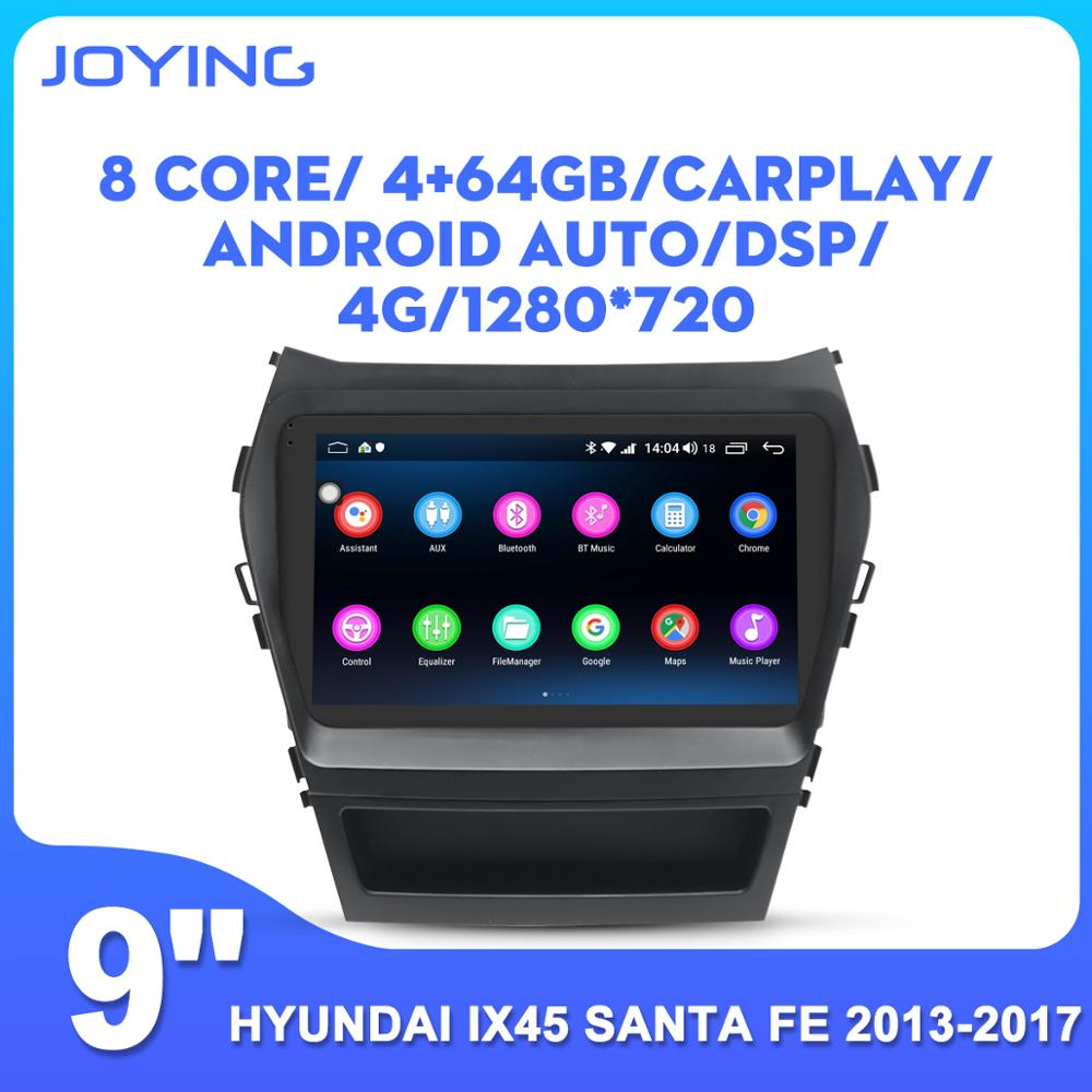 JOYING Android 8.1 head unit 9inch IPS 2.5D touch screen stereo DSP fast boot <font><b>GPS</b></font> <font><b>Navigation</b></font> For Hyundai IX45 Santa Fe 2013-2017 image