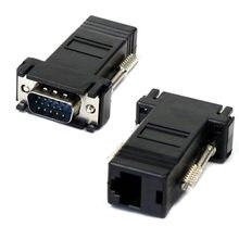 Preço de fábrica vga para rj45 adaptador venda quente vga extensor macho para lan cat5 cat5e rj45 ethernet adaptador fêmea