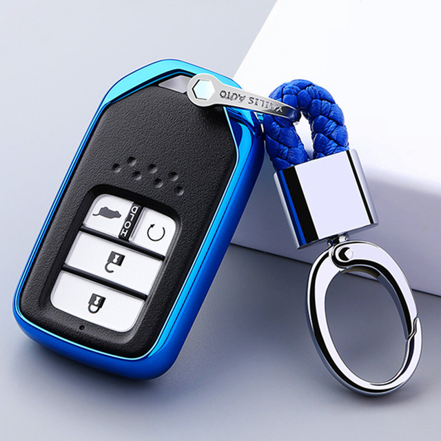 For Honda For Fit For Civic For HR V CRV Odyssey Accord 2013 2017 TPU Black Car Styling Remote Smart Key Cover Fob Case Shell