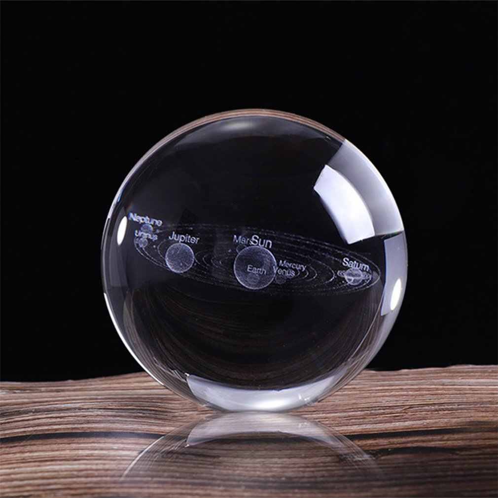 3d sistema solar bola de cristal planetas bola de vidro laser gravado globo modelo em miniatura casa decoração astronomia presente ornamento