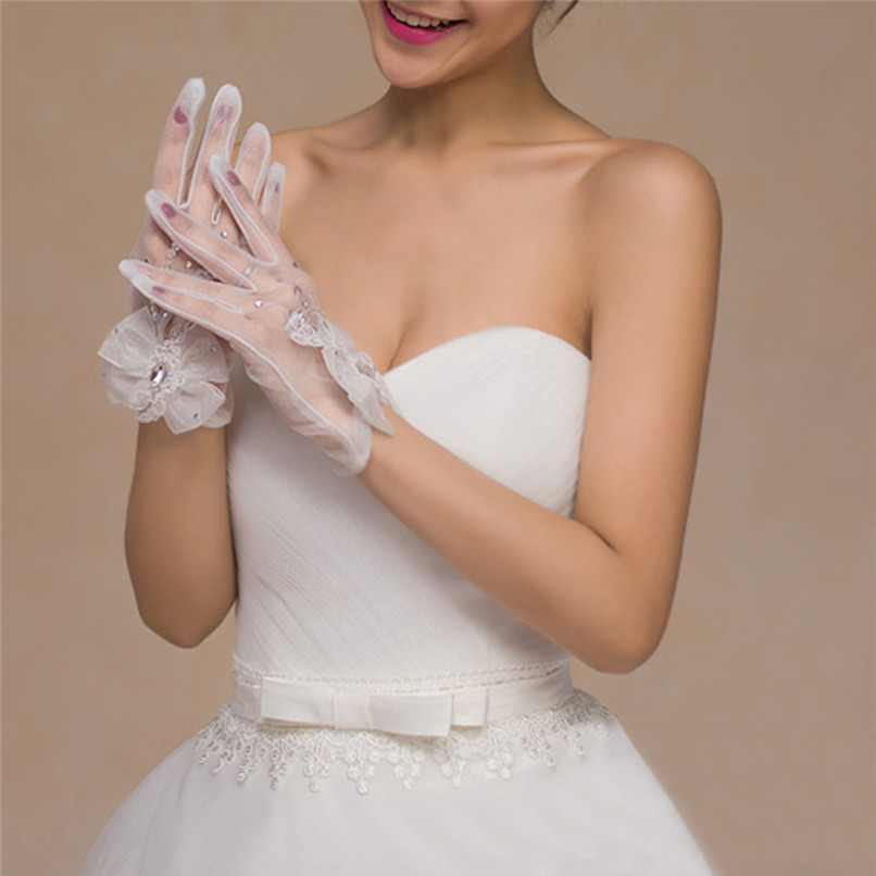 Women Ladys Bride Wedding Long Elegant Lace Evening Gloves