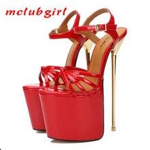 Mclubgirl kadınlar seksi parti platformu pompaları Pseudo-kız çapraz soyunma 22 Cm Metal topuklu moda kadın sandalet ZQJ