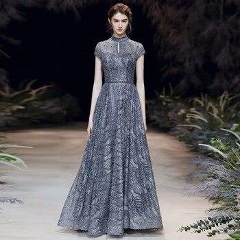 В наличии, Новое сексуальное длинное вечернее платье с жемчугом, с высоким воротом, с открытой спиной, темно синее, блестящее, кружевное, для