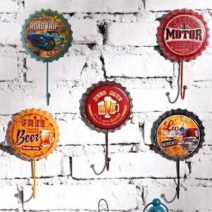 Retro Metal Tin Signs Bar Pub Cafe Garage Wall Decals Wall Hanger Hook Garage Man Cave Home Decor