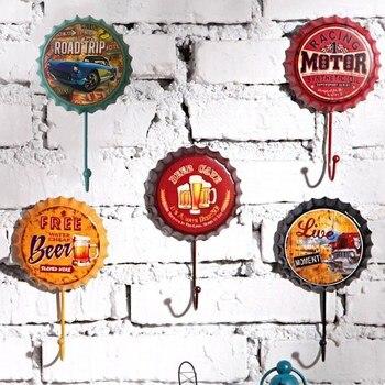 Retro Metal Tin Signs Bar Pub Cafe Garage Wall Decals Hanger Hook Man Cave Home Decor - discount item  20% OFF Home Decor
